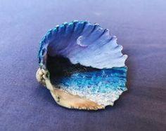 Moonlight Sky (hand painted sea shell)