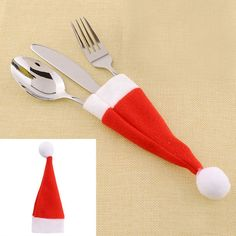 Wholesale10pcs/lot Red Santa Hat Christmas Fork Bags Tableware Silverware Holders Pocket Dinner Home Table Decor*Christmas items