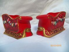 Vintage Napcoware Red Christmas Sleigh Candleholder Set of Two