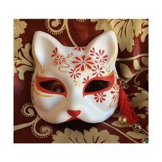 Hand Painted Half Face Japanese Fox Mask Kitsune Cosplay Masquerade Liked On