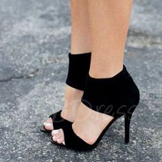 Tbdress.com offers high quality Back Zipper Open Toe Black Ladies Pumps  under the category Sandals unit price of $ 54.99.