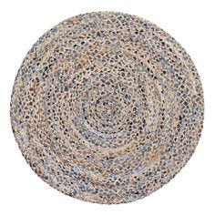 Anji Mountain Hand Woven Kerala Denim and Jute Round Rug - AMB0350-040R