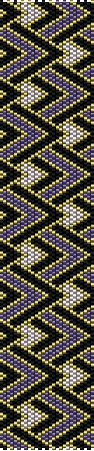 Peyote Pattern Purple Gold Black bracelet Beaded by MarmosaArt