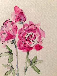 Peony Watercolor Card