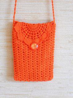 Crochet wallet purse shoulder bag orange cotton pouch with long strap