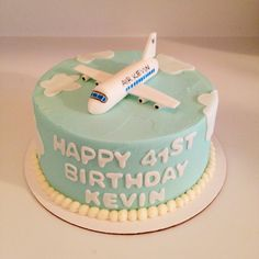 Pilot's birthday cake with 3D fondant airplane on top - Sweets by Millie