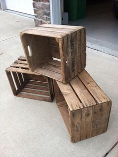 Vintage Wooden Apple Crates by VintageCrates on Etsy