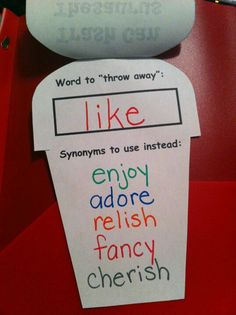 "Trash can thesaurus. ""Throw out"" over used words and give alternative words to use English Language Arts, Teaching Language Arts, Classroom Language, Teaching Tips, Teaching Writing, Creative Teaching, English Writing, Teaching English, Writing Activities"