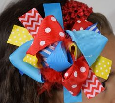 Turquoise, Yellow and Red 6in Boutique Bow- with the Addi Capri set