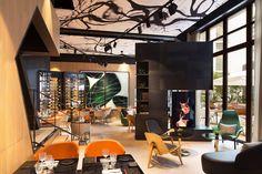 Le Cinq Codet, Paris 2014 design: Jean Philippe Nuel #Natural #black iron #fireplace covering by #decastelli