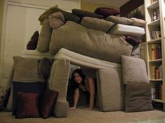 My living room forts never looked like this I used chairs haha Indoor Forts, Indoor Camping, Couch Cushions, Pillows, Pillow Forts, Blanket Forts, Living Room Fort, Cool Forts, Kid Forts