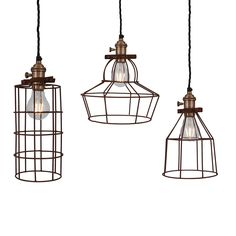 d125d85f623 Simple Vintage Rusty Cage Wire Pendant Lights
