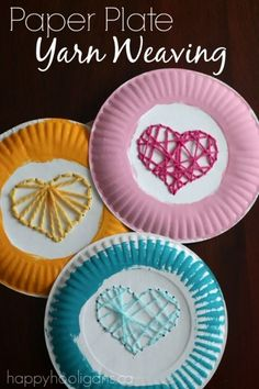 Paper Plate Yarn Weaving - sewing hearts on paper plates for Valentines' Day. Great fine motor activitiy for kids, and a fun way to teach children early sewing skills - Happy Hooligans