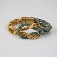 Kumihimo  Love Knot Infinity Bracelet in Turquoise and Gold