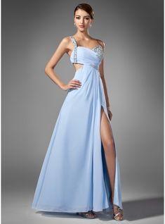 Vestidos princesa/ Formato A Um ombro Longos De chiffon Vestido de baile com Pregueado Bordado Lantejoulas Frente aberta