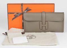 ★ New Authentic Hermes Jige 29cm Clutch Handbag Bag Pochette Etain Grey ★   eBay