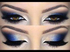 Purple and Blue Smokey Eye Makeup Tutorial Eye Makeup Blue, Navy Blue Makeup, Makeup Tips For Brown Eyes, Blue Makeup Looks, Gold Makeup, Smokey Eye Makeup, Cute Makeup, Eyeshadow Makeup, Beauty Makeup