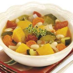 """Roasted Vegetable Chili Recipe -Hannah Barringer of Loudon, Tennessee suggests serving this delicious and satisfying recipe with corn chips, cheese, sour cream, and a small salad. """"To save time, purchase vegetables that have already been diced,"""" she adds."""