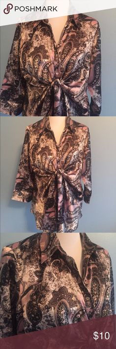 Pink and Black Paisley Print Blouse Silky Button Down Blouse with tie under bustline. Bust is approximately 20 inches flat and length is approximately 27 inches from shoulder to hem. Made of poly/spandex. Size is 14/16W. Cato Tops Button Down Shirts
