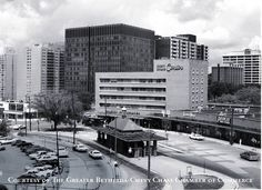 Friendship Heights, looking northwest.  Today this is an office building with restaurant on the second floor.  The taller building in the background is now Clyde's