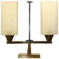 French 1950s Table Lantern in Gunmetal and Brass | From a unique collection of antique and modern table lamps at http://www.1stdibs.com/furniture/lighting/table-lamps/
