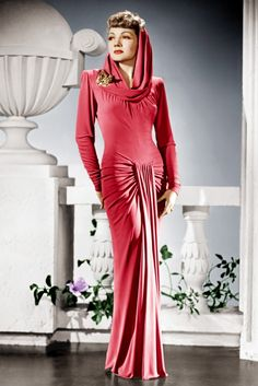Claudette Colbert, 1942 Claudette looks fabulously decadent in a floor-length pink gown, while filming The Palm Beach Story in 1942