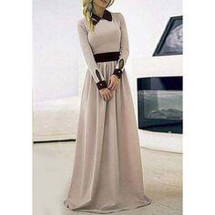 Stylish Flat Collar Long Sleeve Color Block Women's Maxi Dress | TwinkleDeals.com