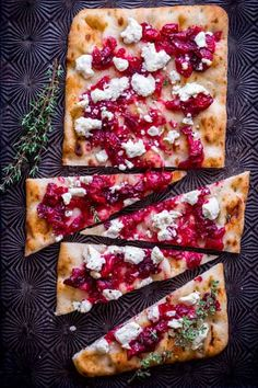 45 Delicious Christmas Appetizers To Serve At Your Holiday Party Roasted Cranberry and Goat Cheese Flatbread Recipe: With cranberry and goat cheese flavors baked on Goats Cheese Flatbread, Goat Cheese, New Year's Eve Appetizers, Appetizer Recipes, Simple Appetizers, Dip Recipes, Appetizer List, Popular Appetizers, Gastronomia