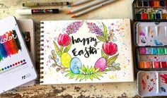 """""""Happy Easter! I created a little wreath in my sketchbook with some of the happiest colors of the Prima palette... I used the Pastel Dreams collection, which has all the colors of Easter and spring in one place... they are so dreamy."""" Melanie"""