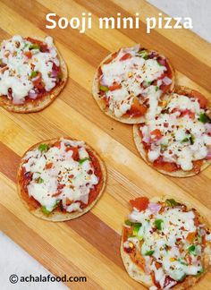 Instant Suji Mini Pizza is so easy to make at home, even if you don't have an oven. This new version of pizza which tastes really good even for breakfast. Mini Pizza Recipes, Veg Recipes, Indian Food Recipes, Vegetarian Recipes, Cooking Recipes, Indian Snacks, Recipies, Snacks Recipes, Gourmet