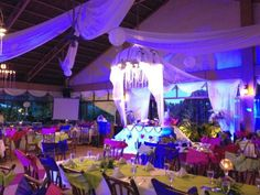 Sharlyn and Ryan's wedding reception adorned in pink, blue and yellow