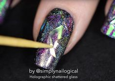 Step 4: Attach iridescent cellophane | Holographic Shattered Glass Nail Art Spot-On For New Year's Eve | Tutorial