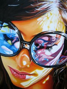 girl with big glasses illustration - ©Steve Smith Art Painting, Art Photography, Fine Art, Amazing Art, Illustration Art, Art, Street Art, Pop Art, Love Art