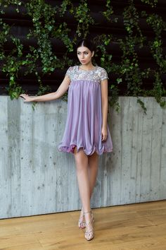 Lavender babydoll silk dress and guipure lace / Rochie babydoll din matase si dantela guipure - MaigreCouture Silk Dress, Baby Dolls, Cold Shoulder Dress, Casual, Dresses, Fashion, Lean Body, Lavender, Moon