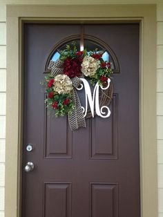Year Round Boxwood Wreath with Cream and Burgundy Hydrangeas- All Season Grapevine Wreath with Initial – Monogram Wreath for Front Door – Boxwood Wreath İdeas. Door Decorations, Wreaths, Monogram Wreath, Porch Decorating, Door Wreaths Diy, Front Door, Boxwood Wreath Front Door, Boxwood Wreath, Wreaths For Front Door