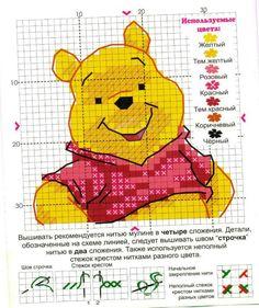 Free Winnie the Pooh Cross Stitch Chart or Hama Perler Bead Pattern