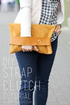 DIY Leather Strap Clutch Tutorial   Giveaway