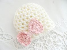 NEWBORN HAT cream and pink hat crochet hat baby by ByBNRaccessory