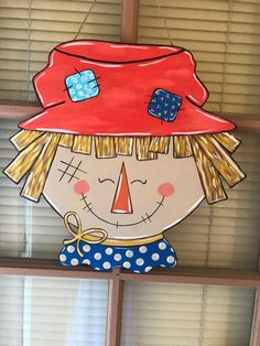 Excited to share the latest addition to my shop: Scarecrow door hanger. Wood Scarecrow, Scarecrow Face, Porch Signs, Door Signs, Fall Wooden Door Hangers, Foam Crafts, Craft Foam, Door Hanger Template, Gingerbread Ornaments