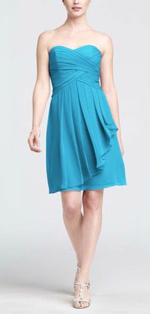 David's Bridal Short Crinkle Chiffon Bridesmaid Dress with Front Cascade. Style F14847 in Malibu blue. @katiebugm