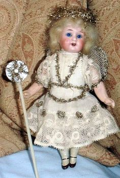 Old Antique German Bisque Head Christmas Fairy Doll Angel Armand Marseille 1915