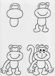 How to draw easy easy monkeys to draw met monkey drawing easy cartoon monkey drawing easy cartoon drawings simple monkey draw easy cat face Cartoon Monkey Drawing, Monkey Drawing Easy, Cartoon Drawings Of Animals, Art Drawings For Kids, Disney Drawings, Art For Kids, Simple Drawings, Draw Animals, Basic Drawing For Kids