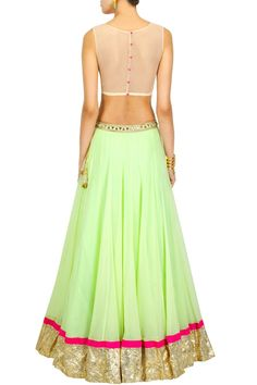 Mint green lehenga with pink heart crop choli available only at Pernia's Pop-Up Shop. Half Saree Lehenga, Green Lehenga, Lengha Choli, Anarkali, Patiala Salwar, Sarees, Traditional Fashion, Traditional Looks, Indian Dresses