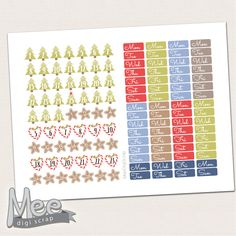 Christmas date cover stickers,Printable planner stickers,Monthly date covers,Mini Date Covers,Calendar Date Covers,Personal Planner Stickers by MeeDigiScrap on Etsy