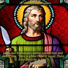 Happy Feast Day of St Bartholomew Apostle – August 24 St Bartholomew Church, Happy Feast Day, Stained Glass Angel, Catholic Saints, All Saints, Christianity, Religion, Prayers, Bible