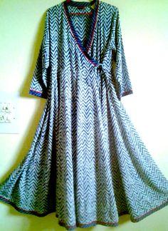 Amazing Rare Organic Indigo Zig zag Block Print Cotton Boho Chic Gypsy style Maxi Dress