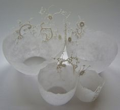 gorgeous handmade paper bowls with vintage lace by Joy Norman