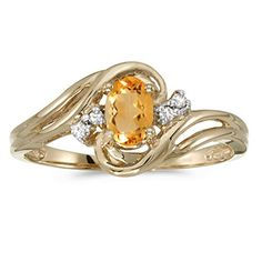 14k Yellow Gold Oval Citrine And Diamond Ring (Size 9) -- Be sure to check out this awesome product.