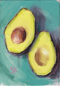 avocado kitchen art oil painting giclee print 5x7 by MadAboutHue
