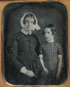ca. 1855, [daguerreotype portrait of a elderly woman holding spectacles with a young girl who appears to be cross-eyed]  via the Historical Society of Pennsylvania, Cased Photographs Collection